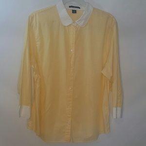Gap Yellow Gingham 3/4 Sleeve Button Down Shirt